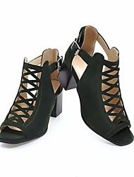 abordables -Mujer Zapatos Cuero Nobuck Verano Confort Sandalias Tacón Cuadrado Punta abierta Hebilla Negro / Beige / Verde