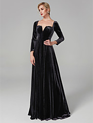cheap -A-Line Princess Square Neck Floor Length Velvet Formal Evening Dress with Pleats by TS Couture®