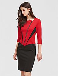 preiswerte -Damen Arbeit Baumwolle Hülle Kleid Einfarbig Knielang Schwarz & Weiß