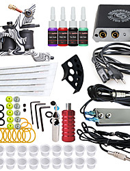 cheap -Starter Tattoo Kit 1 cast iron machine liner & shader Tattoo Machine Mini power supply 4 × 5ml Tattoo Ink 1 x aluminum grip