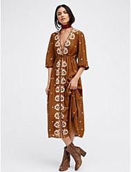 cheap -Women's Going out Street chic Cotton Swing Dress - Floral High Waist Deep V / Summer / Fall
