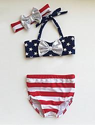 cheap -Girls' Vintage Sexy Striped Geometric Swimwear, Cotton Acrylic Sleeveless Red