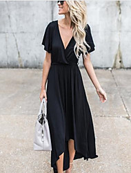 cheap -Women's Holiday / Going out Sophisticated Swing Dress - Solid Colored Black Maxi Deep V / Summer