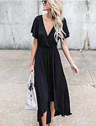 baratos -Mulheres Feriado / Para Noite Sofisticado balanço Vestido Sólido Decote em V Profundo Longo Preto / Verão