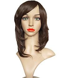 billige -Syntetiske parykker Krøllet Frisure i lag Syntetisk hår Natural Hairline Brun Paryk Dame Lang Lågløs