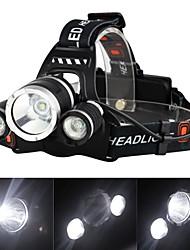 Недорогие -Налобные фонари Фары для велосипеда Светодиодная лампа Cree® XM-L T6 3 излучатели 3000 lm 4.0 Режим освещения с зарядным устройством Перезаряжаемый, ударный корпус