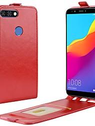 abordables -Funda Para Huawei Y9 (2018)(Enjoy 8 Plus) Honor 9 Lite Soporte de Coche Flip Funda de Cuerpo Entero Un Color Dura Cuero de PU para Huawei