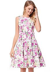 baratos -Mulheres Fofo Sofisticado Evasê Vestido - Estampado, Sólido Floral Altura dos Joelhos
