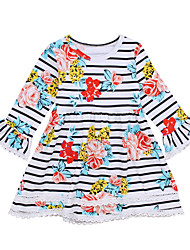 cheap -Girl's Daily Holiday Striped Floral Print Dress, Cotton Spring Summer Sleeveless Long Sleeves Vintage Cute White