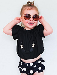 cheap -Girls' Daily Solid Colored Tee, Cotton Summer Short Sleeves Cute Black