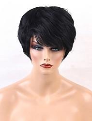 Недорогие -Человеческие волосы без парики Натуральные волосы Прямой Стрижка под мальчика / Короткие Прически 2019 Стиль Природные волосы Природа Черный Машинное плетение Парик Жен.