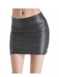 abordables -Femme Basique Moulante Jupes - Couleur Pleine Taille haute