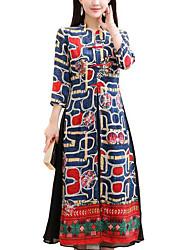 baratos -Mulheres Tamanhos Grandes Moda de Rua / Boho Algodão Solto Reto Vestido Estampa Colorida Gola Redonda Médio