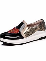 Недорогие -Жен. Обувь Искусственное волокно Весна / Осень Удобная обувь Мокасины и Свитер На плоской подошве Черный / Серебряный