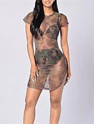 baratos -Mulheres Moda de Rua Reto Vestido - Com Transparência, Abstrato Mini