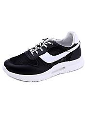 baratos -Mulheres Sapatos Couro Ecológico Primavera Outono Conforto Botas para Ao ar livre Branco Preto Rosa claro