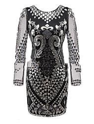 abordables -Gatsby le magnifique Gatsby Costume Femme Robes Robe à clapet Noir Gris Bleu Vintage Cosplay Polyester Manches 3/4