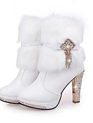 povoljno -Žene Cipele PU Jesen Zima Vojničke čizme Čizme Stiletto potpetica Okrugli Toe Čizme gležnjače / do gležnja Perje za Kauzalni Obala Crn