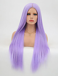 cheap -Synthetic Lace Front Wig Straight Layered Haircut Synthetic Hair Heat Resistant Purple Wig Women's Long Lace Front / Yes