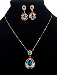 cheap -Women's Cubic Zirconia Jewelry Set - Crystal, Zircon Drop Sweet Include Red / Blue For Party / Masquerade / Earrings