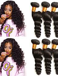 Недорогие -3 Связки Вьетнамские волосы Свободные волны Не подвергавшиеся окрашиванию Удлинитель / Распродажа брендовых товаров Черный Естественный цвет Ткет человеческих волос