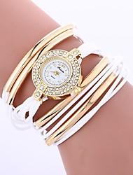 Недорогие -Жен. Модные часы Кварцевый Имитация Алмазный PU Группа Аналоговый Богемные Мода Черный / Белый / Синий - Зеленый Синий Розовый Один год Срок службы батареи