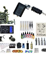 baratos -BaseKey Máquina de tatuagem Conjunto de Principiante - 2 pcs máquinas de tatuagem com 7 x 15 ml tintas de tatuagem, Nível Profissional, Profissional Liga LCD de alimentação No case 20 W 1xMáquina