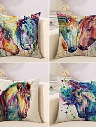 baratos -4.0 pçs Algodão/Linho Fronha Almofada Inovadora Cobertura de Almofada, 3D Pintura à Óleo Animal Estilo Artístico Estilo Europeu