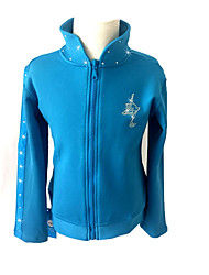 cheap -Figure Skating Jacket with Pants Women's Ice Skating Pants / Trousers / Jacket Black / Sky Blue / Blue Spandex strenchy Practise /