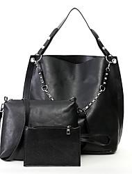 preiswerte -Damen Taschen PU-Leder Bag Set 3 Stück Geldbörse Set Reißverschluss für Einkauf Schwarz