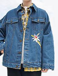 Недорогие -Муж. Джинсовая куртка Активный - Цветочный принт