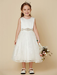 cheap -Princess Knee Length Flower Girl Dress - Lace Satin Sleeveless Scoop Neck with Bow(s) Sash / Ribbon by LAN TING BRIDE®