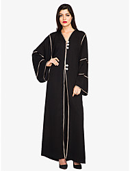 cheap -Women's Plus Size Street chic / Sophisticated Loose Shift / Swing / Abaya Dress - Solid Colored Lace up High Waist Maxi V Neck