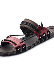billige -Herre Sko Læder Sommer Komfort Sandaler for Afslappet Brun Rød Blå Bourgogne Mørkegrøn