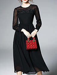 cheap -Women's Holiday Swing Dress - Solid Colored Mesh Embroidered Patchwork