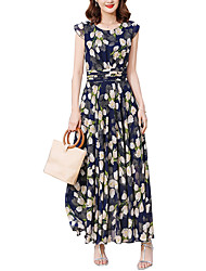 cheap -Women's Plus Size Holiday / Going out Street chic Slim Chiffon / Swing Dress - Floral Print High Waist Maxi / Spring / Summer