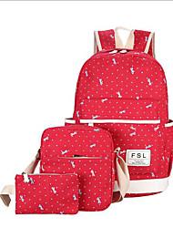 povoljno -Žene Torbe Platno Bag Setovi 3 kom Patent-zatvarač za Kauzalni Sva doba Plava Djetelina Crn Red