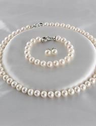 baratos -Mulheres Prata Chapeada / Pérolas de água doce Luxo Conjunto de jóias 1 Colar / 1 Bracelete / Brincos - Luxo / Clássico / Elegante