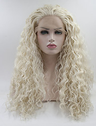 cheap -Synthetic Lace Front Wig Straight Layered Haircut Synthetic Hair Medium Size White Wig Women's Long Lace Front