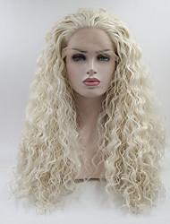 Недорогие -Синтетические кружевные передние парики Прямой Стрижка каскад Искусственные волосы Средний размер Белый Парик Жен. Длинные Лента спереди Платиновый блондин
