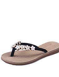 abordables -Femme Chaussures Daim Printemps été Confort Chaussons & Tongs Talon Plat Beige / Rouge / Vert