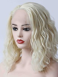 cheap -Synthetic Lace Front Wig Wavy Blonde Bob Haircut 150% Density Synthetic Hair Heat Resistant / Women / Hot Sale Blonde Wig Women's Short Lace Front / Yes