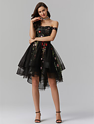 cheap -A-Line Princess V-Wire Asymmetrical Tulle Cocktail Party / Homecoming / Holiday Dress with Appliques by TS Couture®