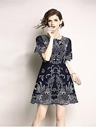 baratos -Mulheres Vintage Evasê Vestido - Renda, Floral Acima do Joelho