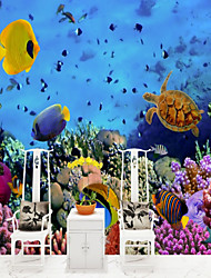 Недорогие -подводный мир коралловые рыбы на заказ обои 3d настенные обои, подходящие для офиса ресторан детей