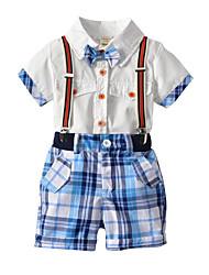 Недорогие -Дети Мальчики Однотонный Пэчворк С короткими рукавами Набор одежды