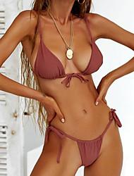 0f65b77a1a Women s Basic Strapless Pink Yellow Wine Thong Bikini Swimwear - Solid  Colored M L XL Pink   Sexy
