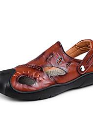 Недорогие -Муж. обувь Кожа Лето Удобная обувь Сандалии Черный / Желтый / Коричневый