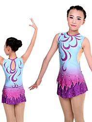 cheap -Women's / Girls' Gymnastics Leotard - Purple Sports Coverall Ballet, Ice Skating, Figure Skating Long Sleeve Activewear Lightweight, Quick Dry, Breathable High Elasticity