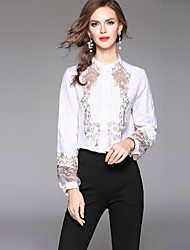 Недорогие -Жен. Вышивка Рубашка Активный / Уличный стиль Цветочный принт